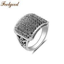 black crystal rings images Feelgood vintage jewelry fashion male finger rings silver tone jpg
