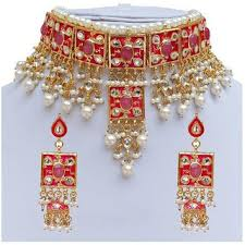 beautiful necklace online images Buy finekraft beautiful pearls designer gold plated pink meena jpg