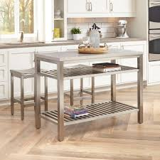 stainless steel kitchen island home styles brushed satin stainless steel kitchen island with bar