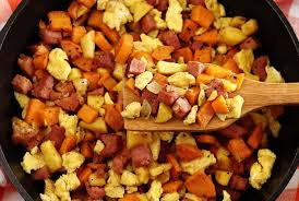 ham apple sweet potatoes scramble paleo newbie