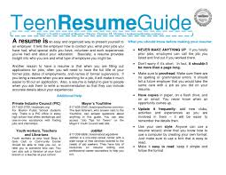 cover letter writing a resume for a teenager writing a resume for
