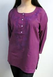 womens cotton tunic top is soft pink hand embroidery on sale
