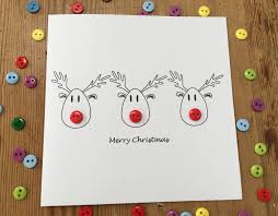 christmas card reindeer with button nose rudolf paper