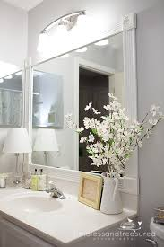 Framing Builder Grade Bathroom Mirror Timeless And Treasured My Three Girls How To Frame A Bathroom