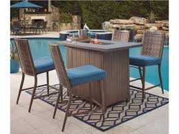 Outdoor Table With Firepit by Partanna 5 Piece Outdoor Fire Pit Set Bar Stools Bar Fire Pit