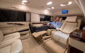 custom stretched cadillac escalade evs offers private jet like