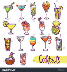 cocktail glasses cold summer party refreshment stock illustration