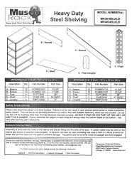 Edsal Shelving Parts by Edsal Mr482472blb Instructions Assembly