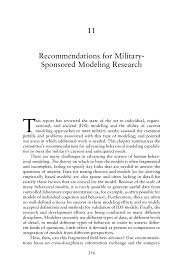 11 recommendations for military sponsored modeling research