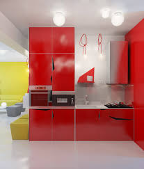 sleek kitchen cabinets in red kitchen design with white floor