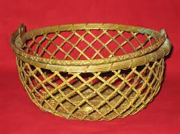 woven brass basket with movable handle vintage brass basket made
