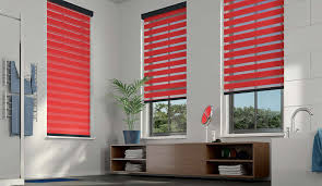 accessories red 3 day blinds with lowers storage and potted
