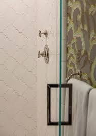 Large White Wall Tiles Bathroom - large white arabesque shower tiles transitional bathroom