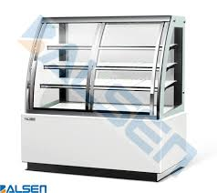 new design curved glass three layers bakery refrigerator showcase