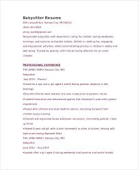 Resume For Babysitting Examples by Sample Babysitter Resume 6 Examples In Word Pdf