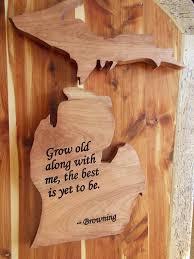 Browning Wall Decor Michigan State Shape Wood Cutout Wall Art Robert Browning Poem