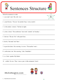 sentence structure 1 esl worksheets of the day pinterest