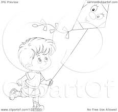 clipart of an outlined boy flying a kite royalty free vector