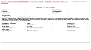Machine Operator Job Description Resume by Lockstitch Sewing Machine Operator Complete Garment Job Title Docs