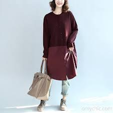 new burgundy patchwork hem cotton sweater dresses plus size knit