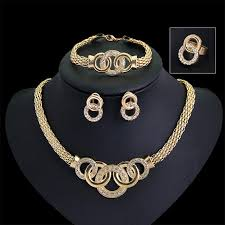 earrings necklace bracelet sets images Gold plated fine jewelry set for women beads collar necklace jpg