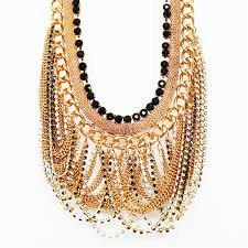 statement chain necklace images Gold fringe necklace collar necklace with mix chain drape jpg