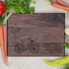 engraved cutting boards personalized cutting board happily after bike with balloons