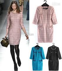 2017 elegant wool plaid dress top designer long sleeve new black
