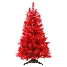 4 ft pre lit translucent ruby artificial tree clear