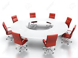 Conference Table With Chairs 3d Render Of Conference Table With Red Leather Chairs Stock Photo
