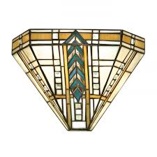 art deco uplighter wall washer wall light with chevron pattern