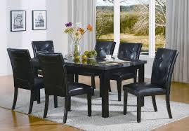 portland black marble top dining table set black chairs 5pc