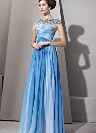 jewelled ombre blue evening dress