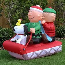 yard inflatables self contained snoopy and his friends