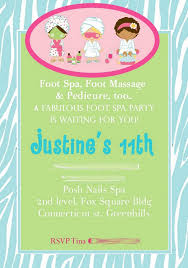 spa birthday party invitations templates home party theme ideas