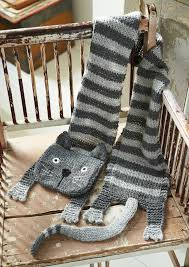 free knitting pattern for tabby cat scarf knit in stockinette and