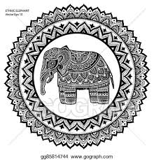 vector vintage indian elephant with tribal ornaments