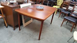 small scale danish modern teak dining table with 1 leaf by randers
