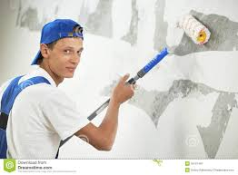 wall painters painter at home renovation work with prime stock image image