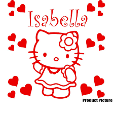 buy hello kitty heart with your chosen name 60 cm x 40 cm colour hello kitty heart with your chosen name 60 cm x 60 cm colour dark gray personalised name any name childs bedroom children room stickers car vinyl
