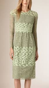 burberry floral lace and macramé dress in green lyst