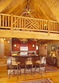 rustic kitchen design with mini bar under mezzanine of rustic