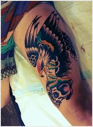eagle and skull tattoos on left thigh real photo pictures
