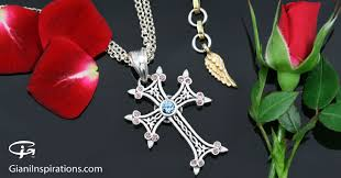 cross necklace pink images Apostolic cross pink coffee light blue zircon silver necklace pt jpg
