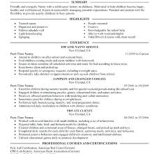resume nanny resume sample qualifications download examples chic