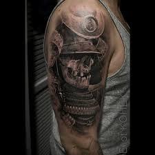 latest black and grey 3d samurai skull tattoo on man right half sleeve