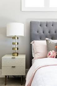 Nightstand Cover Gray Tufted Headboard With Pink Duvet Cover And Shams