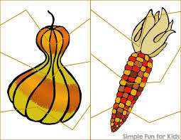 thanksgiving cutting practice puzzles printable simple for