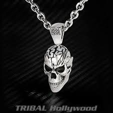 necklace skull images Ecks pearl for brains skull sterling silver mens necklace jpg