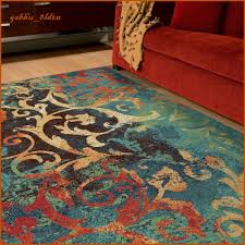 Teal Area Rug Unique Watercolor Scroll Area Rug Teal Blue Orange